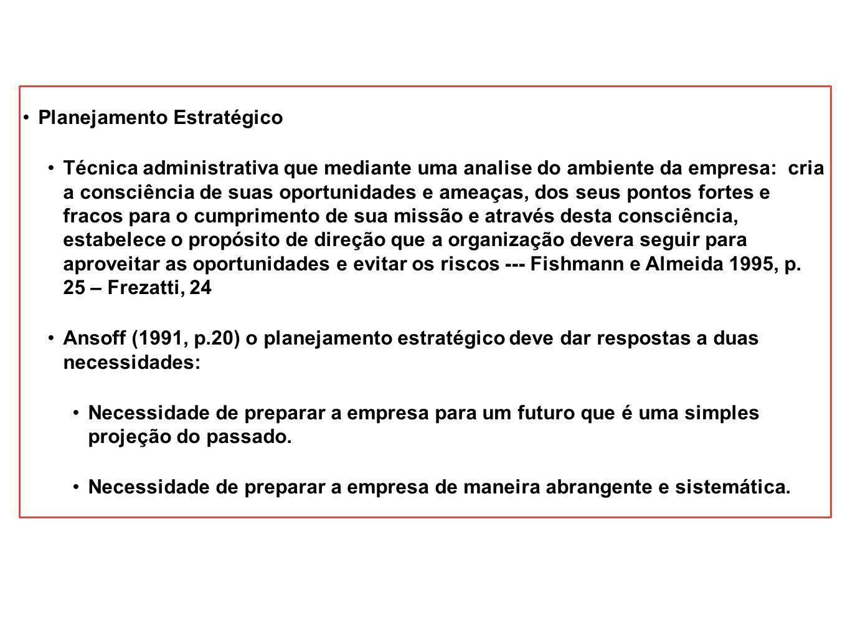Planejamento Estratégico Técnica administrativa que mediante uma analise do ambiente da empresa: cria a consciência de suas oportunidades e ameaças, d