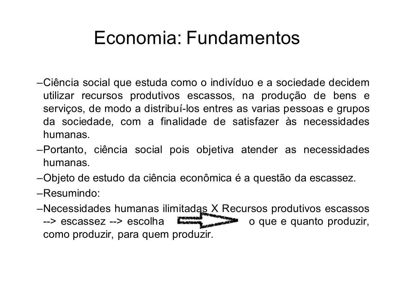 Economia: Fundamentos –Ciência social que estuda como o indivíduo e a sociedade decidem utilizar recursos produtivos escassos, na produção de bens e s
