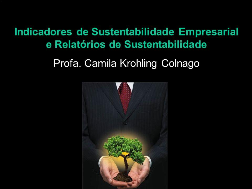 Indicadores de Sustentabilidade Empresarial e Relatórios de Sustentabilidade - Profa. Camila Krohling Colnago Indicadores de Sustentabilidade Empresar