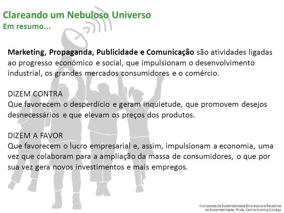 Indicadores de Sustentabilidade Empresarial e Relatórios de Sustentabilidade - Profa. Camila Krohling Colnago Marketing, Propaganda, Publicidade e Com