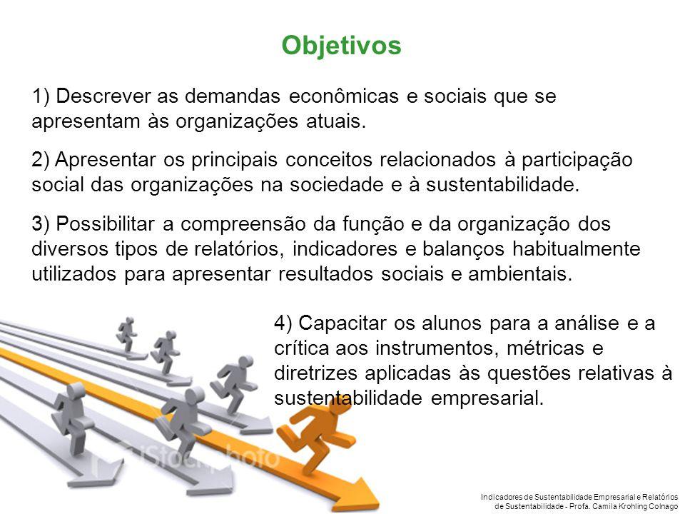 Indicadores de Sustentabilidade Empresarial e Relatórios de Sustentabilidade - Profa. Camila Krohling Colnago 1) Descrever as demandas econômicas e so