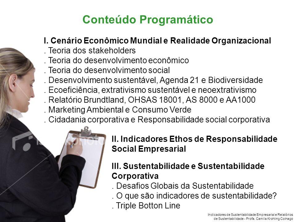 Indicadores de Sustentabilidade Empresarial e Relatórios de Sustentabilidade - Profa. Camila Krohling Colnago I. Cenário Econômico Mundial e Realidade