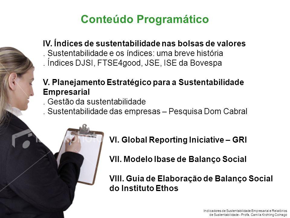 Indicadores de Sustentabilidade Empresarial e Relatórios de Sustentabilidade - Profa. Camila Krohling Colnago IV. Índices de sustentabilidade nas bols