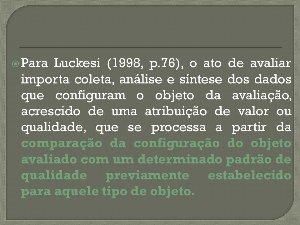 Para Luckesi (1998, p.76), o ato de avaliar importa coleta, análise e síntese dos dados que configuram o objeto da avaliação, acrescido de uma atribui