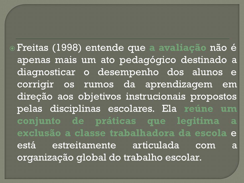 Freitas (1998) entende que a avaliação não é apenas mais um ato pedagógico destinado a diagnosticar o desempenho dos alunos e corrigir os rumos da apr