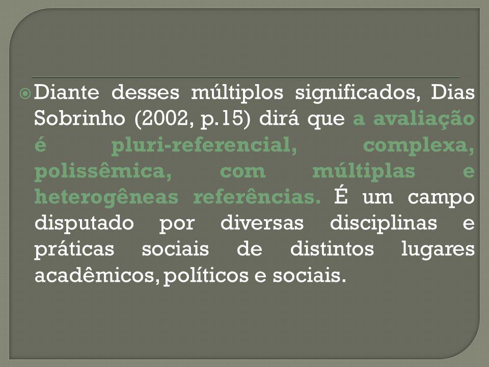 Diante desses múltiplos significados, Dias Sobrinho (2002, p.15) dirá que a avaliação é pluri-referencial, complexa, polissêmica, com múltiplas e hete