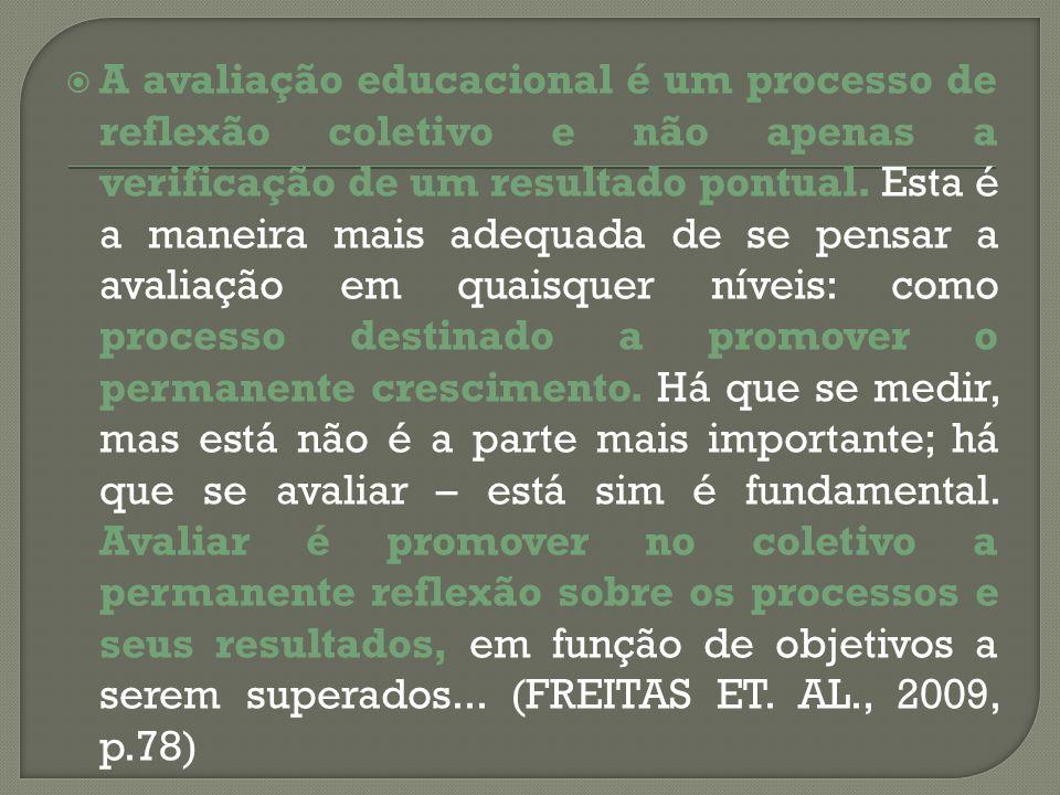 A avaliação educacional é um processo de reflexão coletivo e não apenas a verificação de um resultado pontual. Esta é a maneira mais adequada de se pe