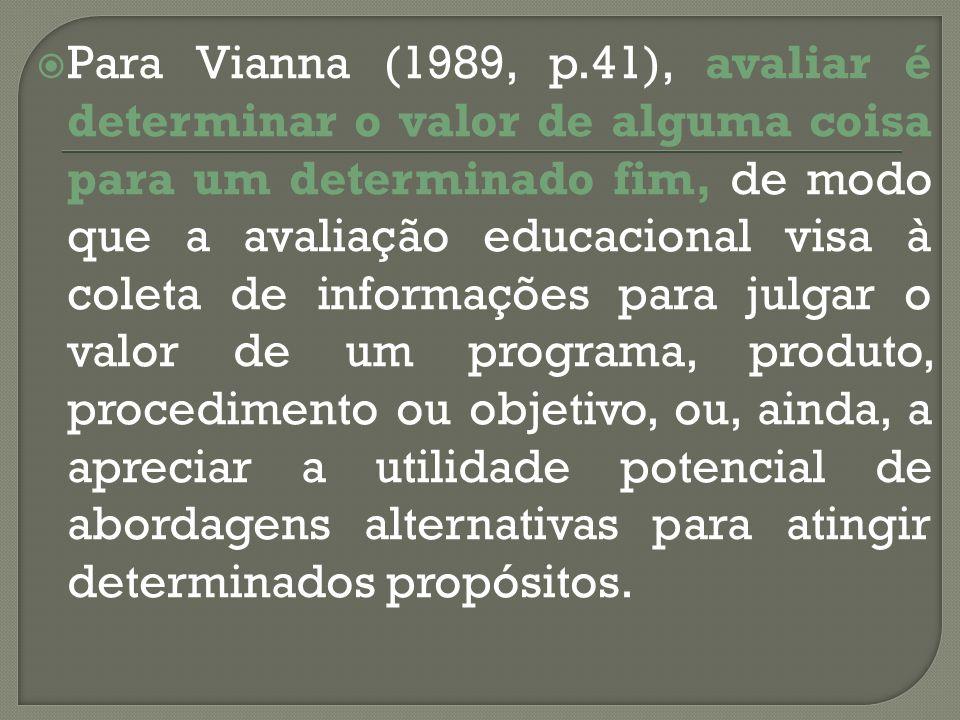 Para Vianna (1989, p.41), avaliar é determinar o valor de alguma coisa para um determinado fim, de modo que a avaliação educacional visa à coleta de i