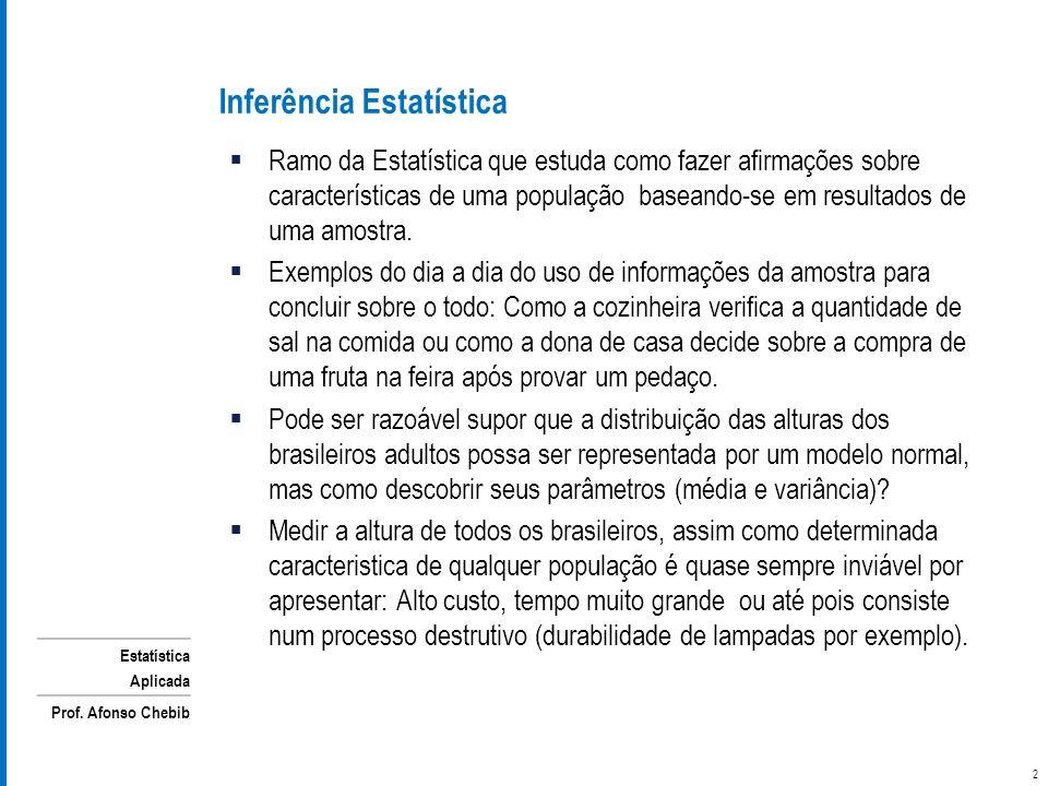 Estatística Aplicada Prof. Afonso Chebib Ramo da Estatística que estuda como fazer afirmações sobre características de uma população baseando-se em re