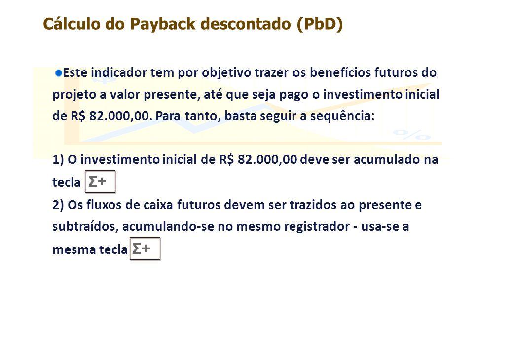 1.Fluxo de caixa: 57.955,32 FV 1 n 29,85 i PV - 44.632,51 (valor retornado pela calculadora) Σ + A cada passo, devemos ler o Σ+ para saber se já recuperamos o investimento inicial.