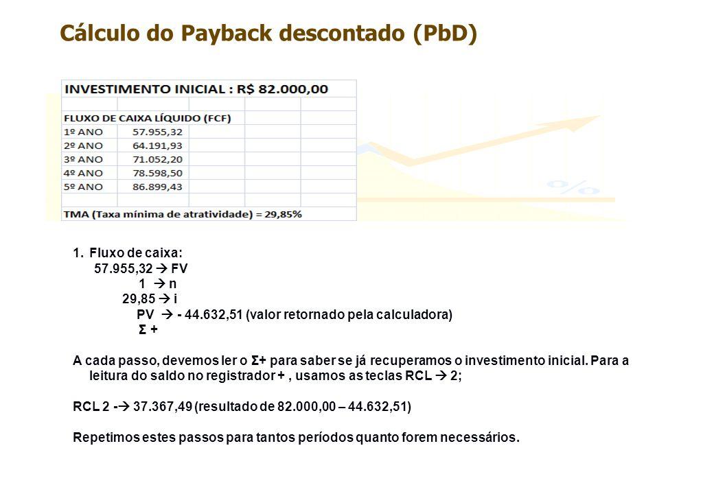 1.Fluxo de caixa: 57.955,32 FV 1 n 29,85 i PV - 44.632,51 (valor retornado pela calculadora) Σ + A cada passo, devemos ler o Σ+ para saber se já recup