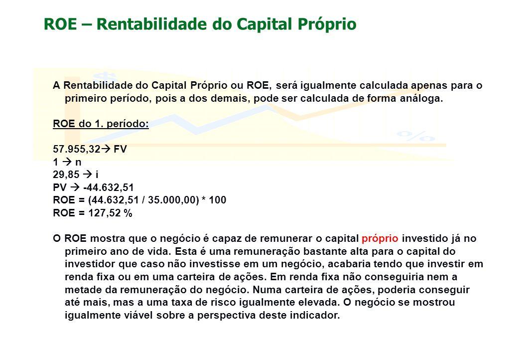 ROE – Rentabilidade do Capital Próprio A Rentabilidade do Capital Próprio ou ROE, será igualmente calculada apenas para o primeiro período, pois a dos