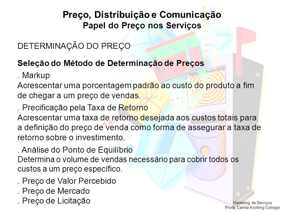 Marketing de Serviços Profa. Camila Krohling Colnago Preço, Distribuição e Comunicação Papel do Preço nos Serviços DETERMINAÇÃO DO PREÇO Seleção do Mé