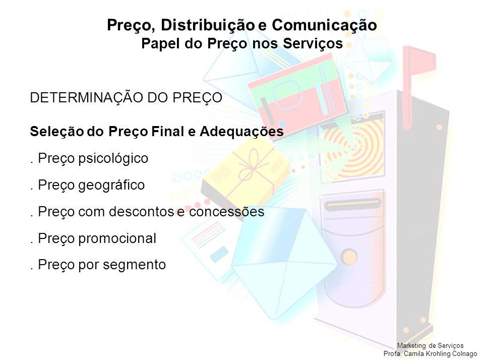 Marketing de Serviços Profa. Camila Krohling Colnago Preço, Distribuição e Comunicação Papel do Preço nos Serviços DETERMINAÇÃO DO PREÇO Seleção do Pr