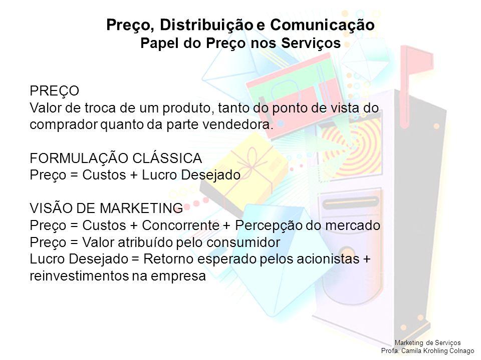 Marketing de Serviços Profa. Camila Krohling Colnago Preço, Distribuição e Comunicação Papel do Preço nos Serviços PREÇO Valor de troca de um produto,