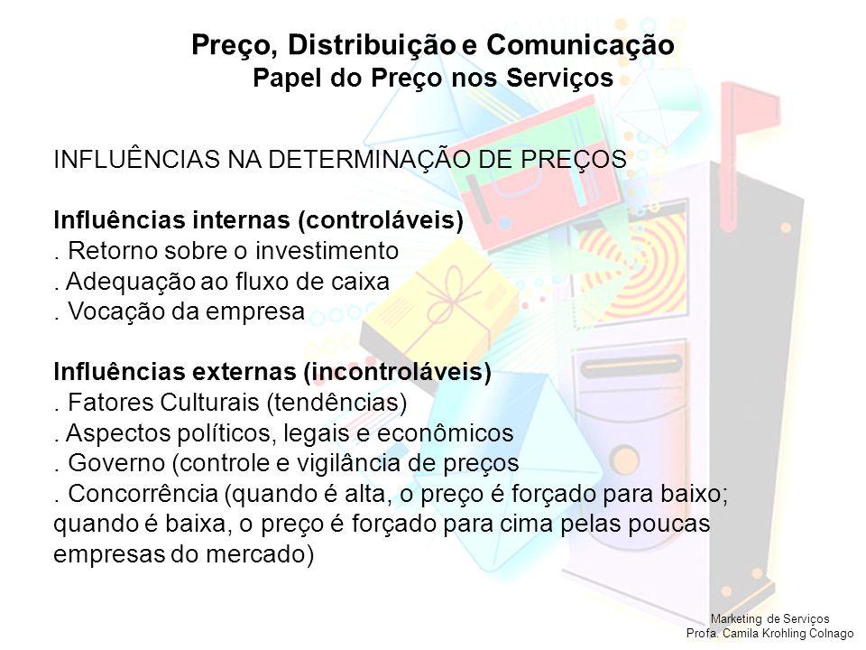 Marketing de Serviços Profa. Camila Krohling Colnago Preço, Distribuição e Comunicação Papel do Preço nos Serviços INFLUÊNCIAS NA DETERMINAÇÃO DE PREÇ