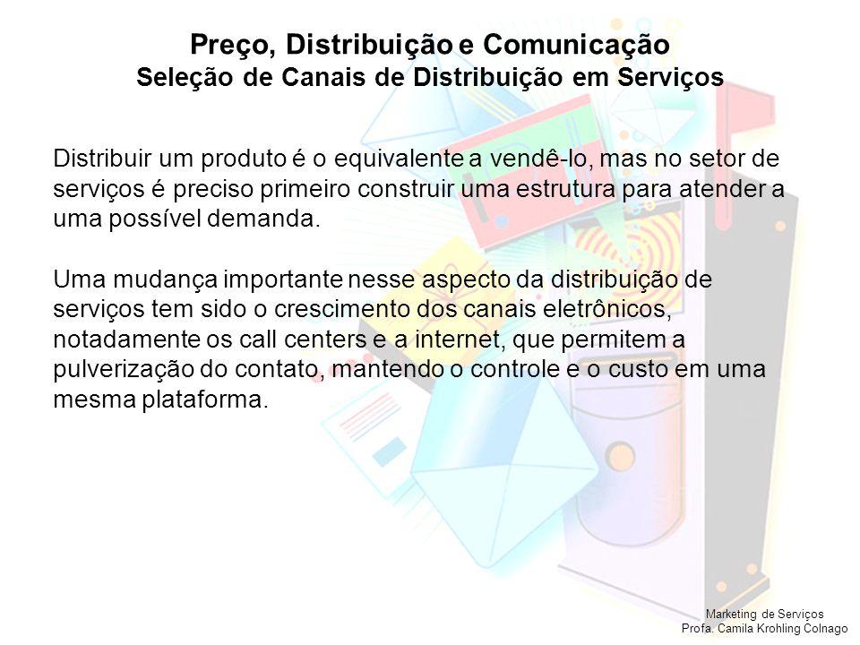 Marketing de Serviços Profa. Camila Krohling Colnago Preço, Distribuição e Comunicação Seleção de Canais de Distribuição em Serviços Distribuir um pro