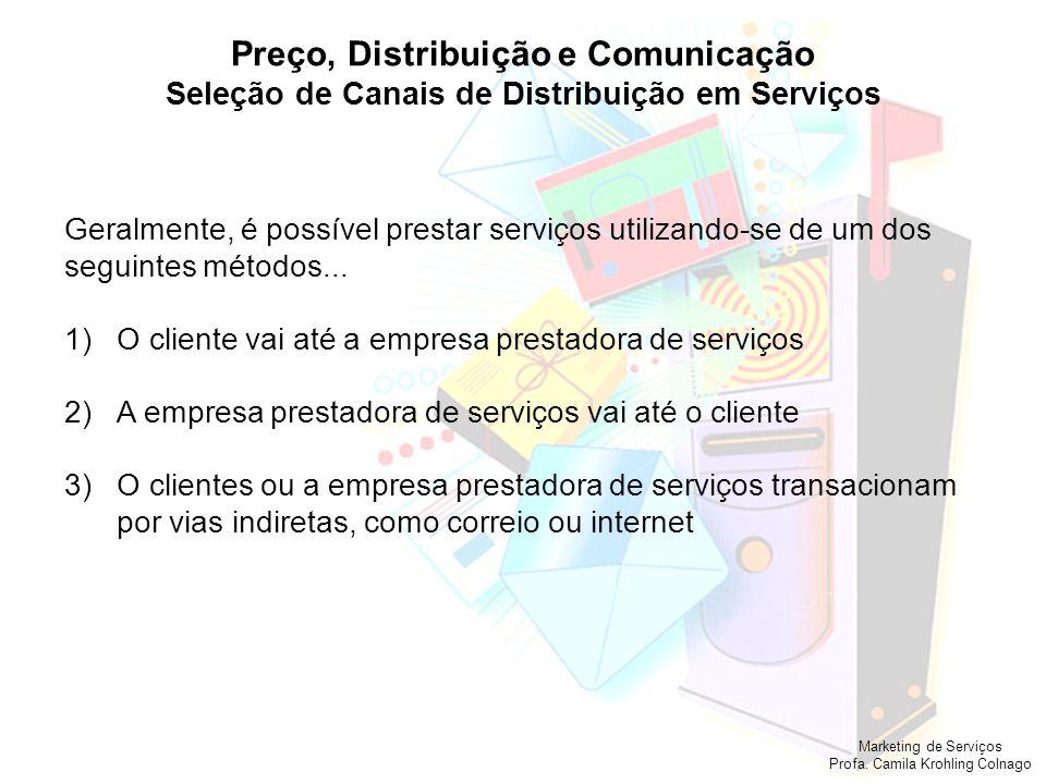 Marketing de Serviços Profa. Camila Krohling Colnago Preço, Distribuição e Comunicação Seleção de Canais de Distribuição em Serviços Geralmente, é pos