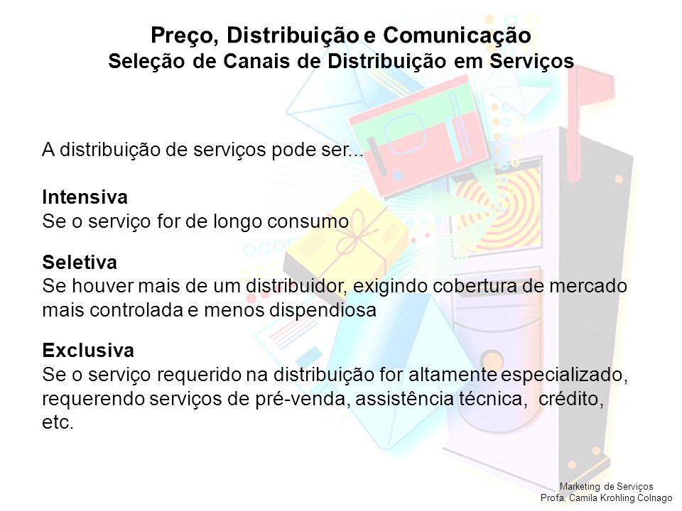 Marketing de Serviços Profa. Camila Krohling Colnago Preço, Distribuição e Comunicação Seleção de Canais de Distribuição em Serviços A distribuição de