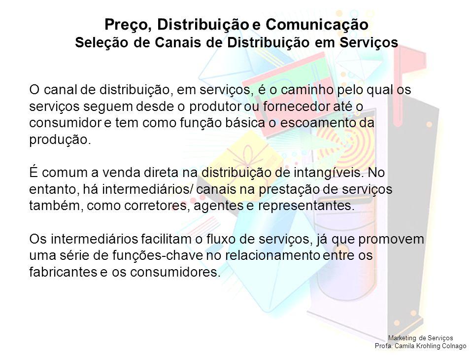 Marketing de Serviços Profa. Camila Krohling Colnago Preço, Distribuição e Comunicação Seleção de Canais de Distribuição em Serviços O canal de distri