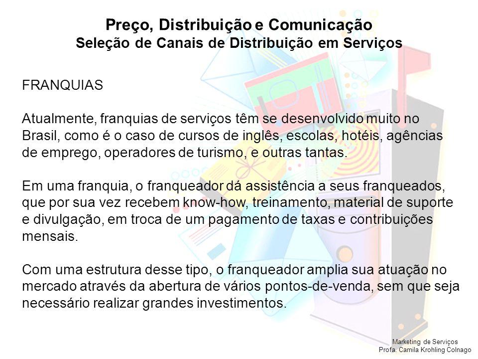 Marketing de Serviços Profa. Camila Krohling Colnago Preço, Distribuição e Comunicação Seleção de Canais de Distribuição em Serviços FRANQUIAS Atualme