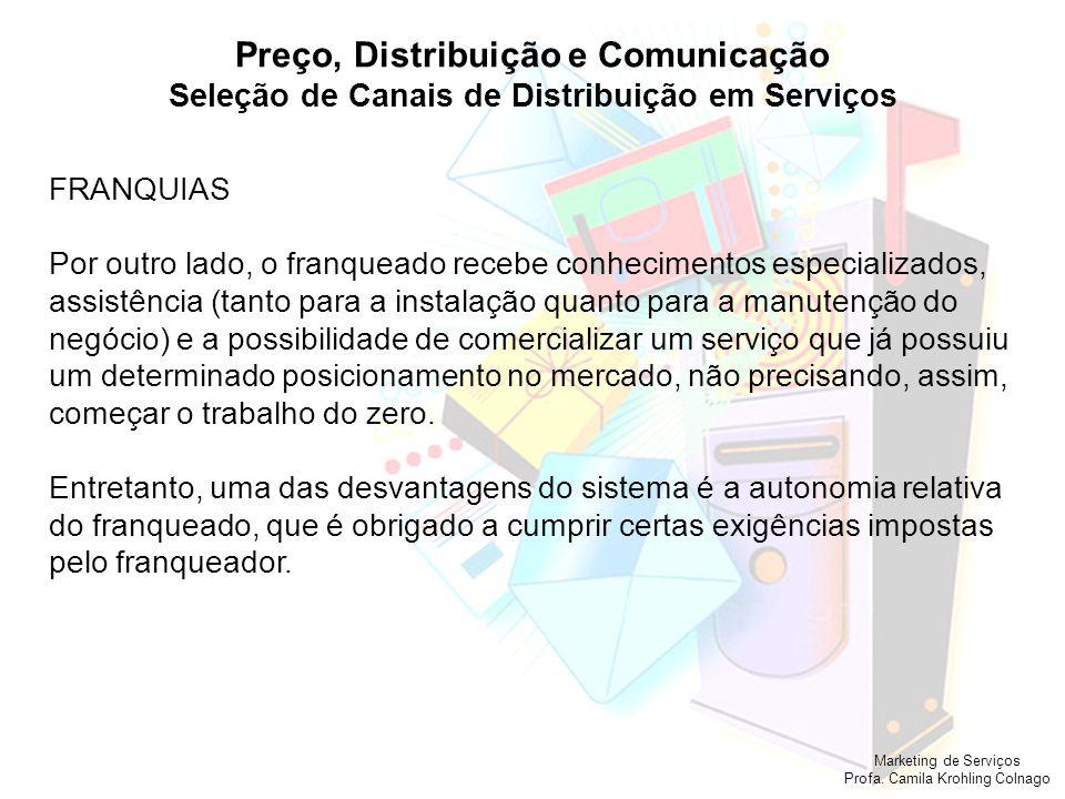 Marketing de Serviços Profa. Camila Krohling Colnago Preço, Distribuição e Comunicação Seleção de Canais de Distribuição em Serviços FRANQUIAS Por out