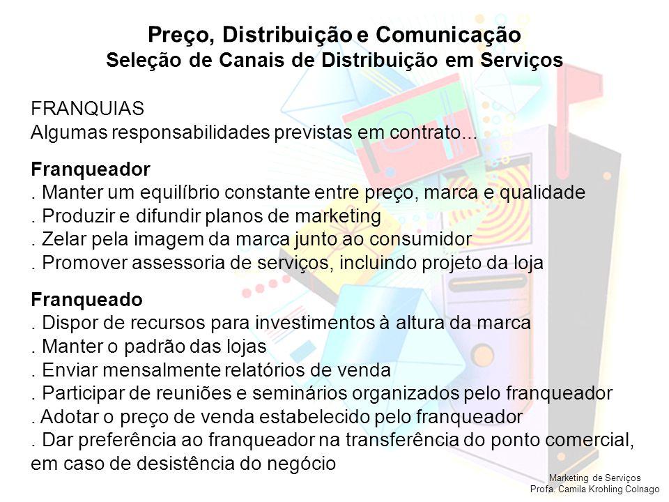 Marketing de Serviços Profa. Camila Krohling Colnago Preço, Distribuição e Comunicação Seleção de Canais de Distribuição em Serviços FRANQUIAS Algumas