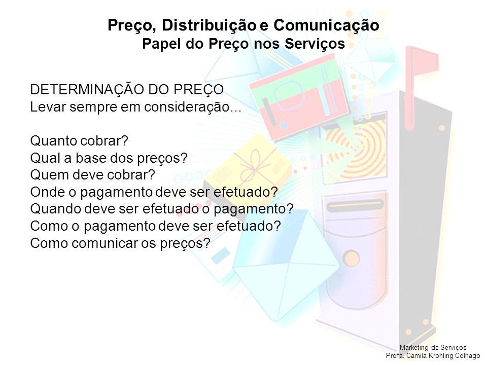 Marketing de Serviços Profa. Camila Krohling Colnago Preço, Distribuição e Comunicação Papel do Preço nos Serviços DETERMINAÇÃO DO PREÇO Levar sempre