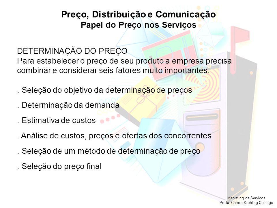 Marketing de Serviços Profa. Camila Krohling Colnago Preço, Distribuição e Comunicação Papel do Preço nos Serviços DETERMINAÇÃO DO PREÇO Para estabele