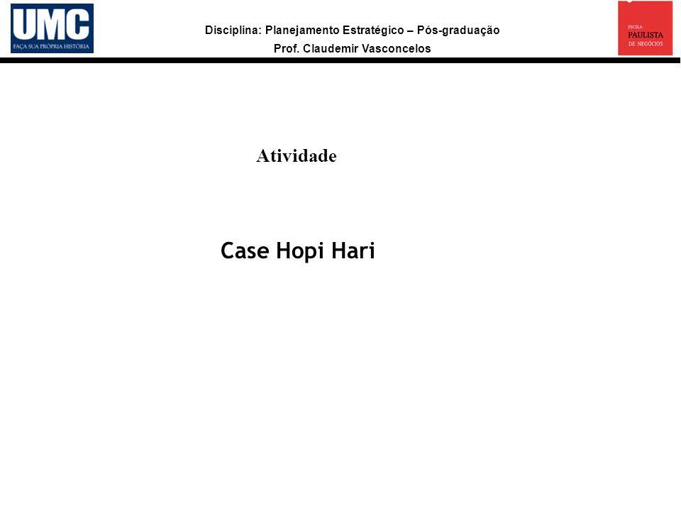 Disciplina: Planejamento Estratégico – Pós-graduação Prof. Claudemir Vasconcelos Atividade a Case Hopi Hari