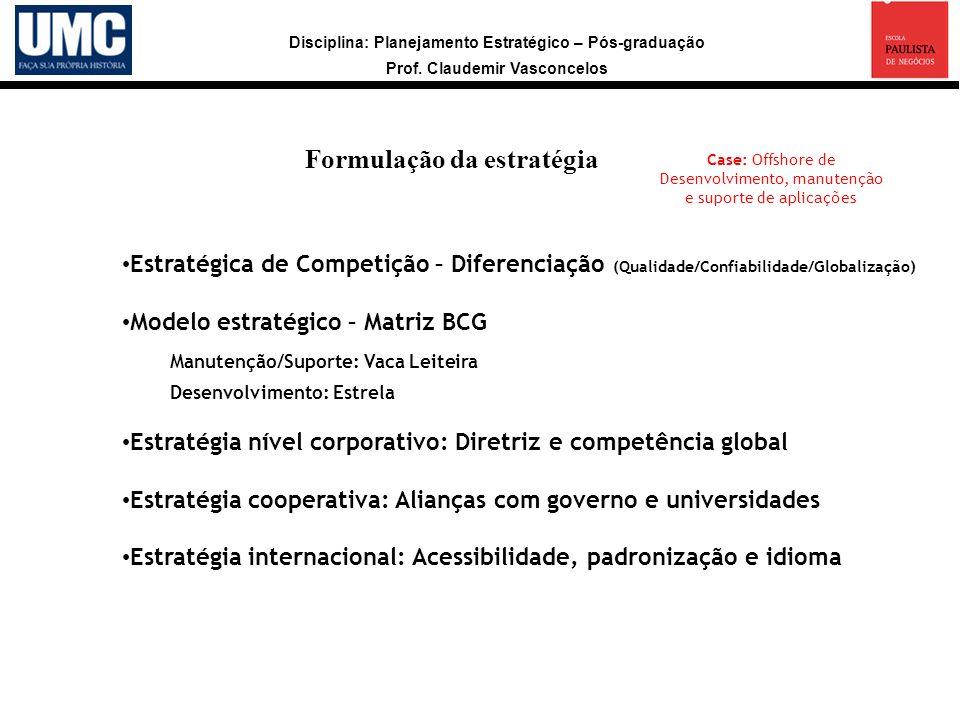 Disciplina: Planejamento Estratégico – Pós-graduação Prof. Claudemir Vasconcelos Formulação da estratégia Estratégica de Competição – Diferenciação (Q