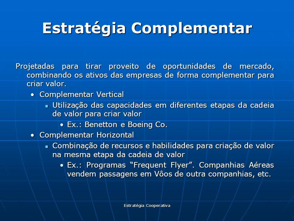Estratégia Cooperativa Estratégia Complementar Projetadas para tirar proveito de oportunidades de mercado, combinando os ativos das empresas de forma
