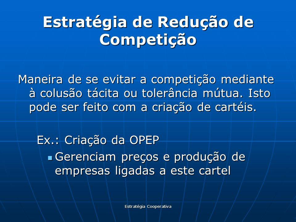 Estratégia Cooperativa Estratégia de Redução de Competição Maneira de se evitar a competição mediante à colusão tácita ou tolerância mútua. Isto pode