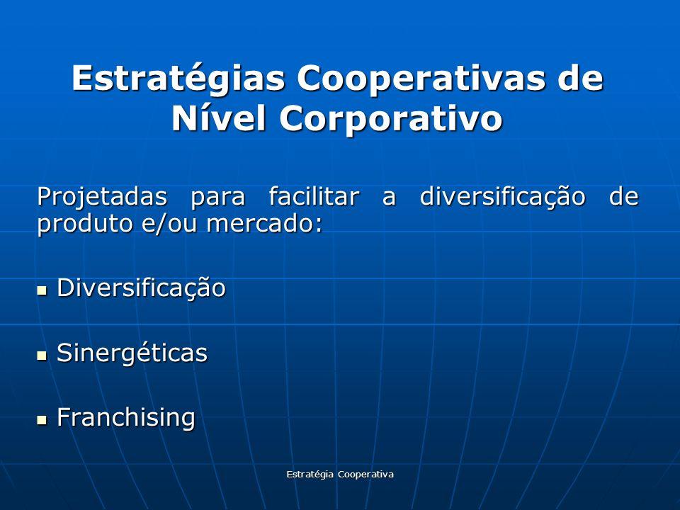 Estratégia Cooperativa Estratégias Cooperativas de Nível Corporativo Projetadas para facilitar a diversificação de produto e/ou mercado: Diversificaçã