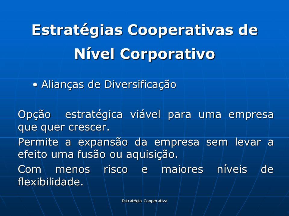Estratégia Cooperativa Estratégias Cooperativas de Nível Corporativo Alianças de DiversificaçãoAlianças de Diversificação Opção estratégica viável par