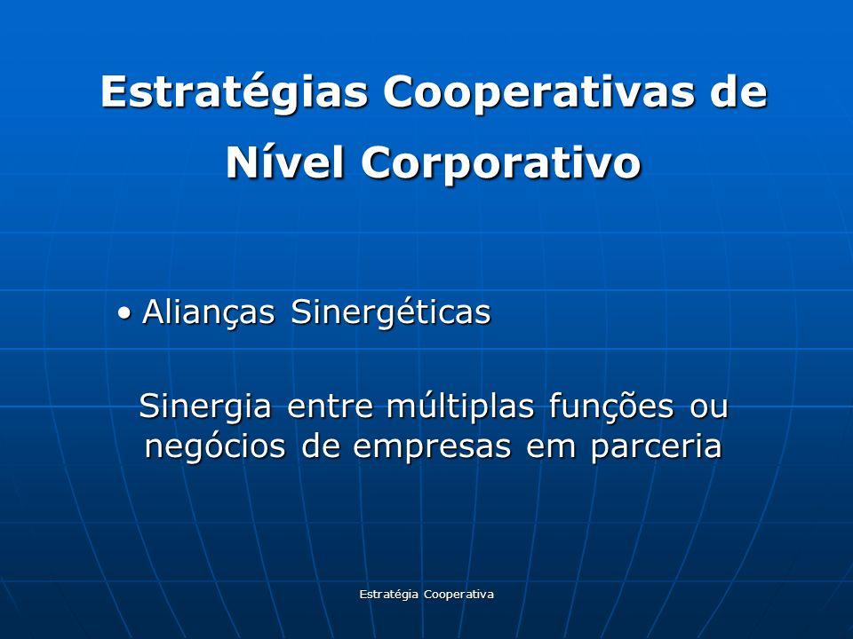 Estratégia Cooperativa Estratégias Cooperativas de Nível Corporativo Alianças SinergéticasAlianças Sinergéticas Sinergia entre múltiplas funções ou ne