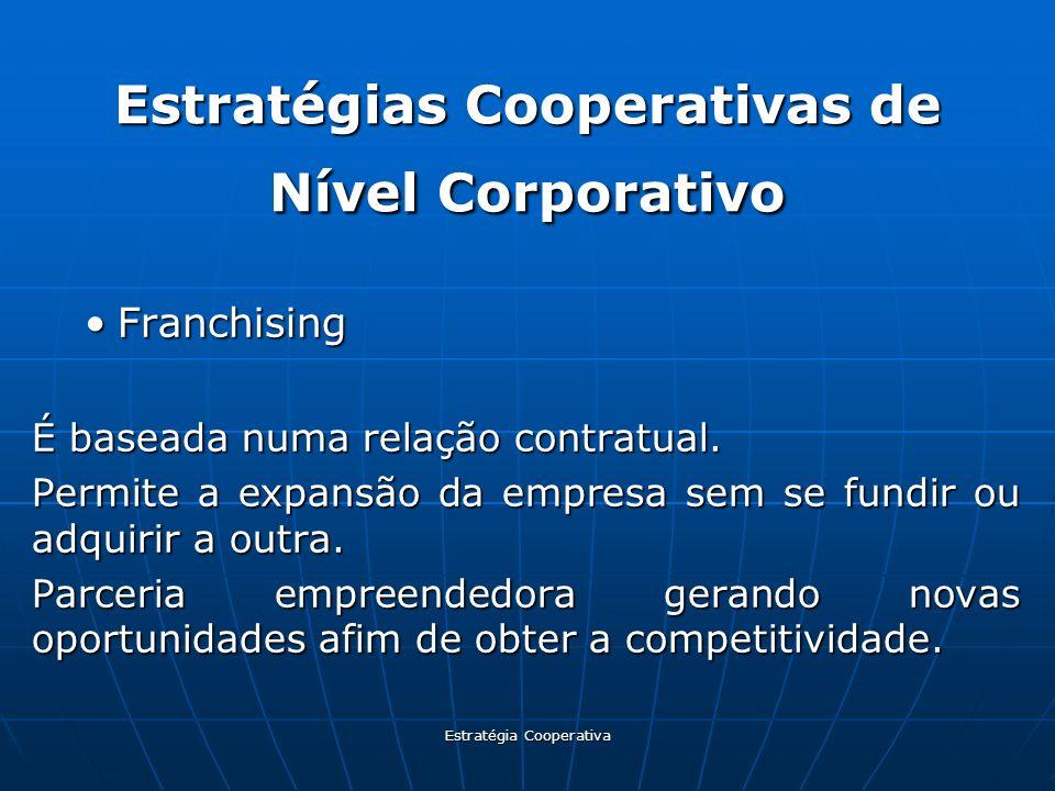 Estratégia Cooperativa Estratégias Cooperativas de Nível Corporativo FranchisingFranchising É baseada numa relação contratual. Permite a expansão da e