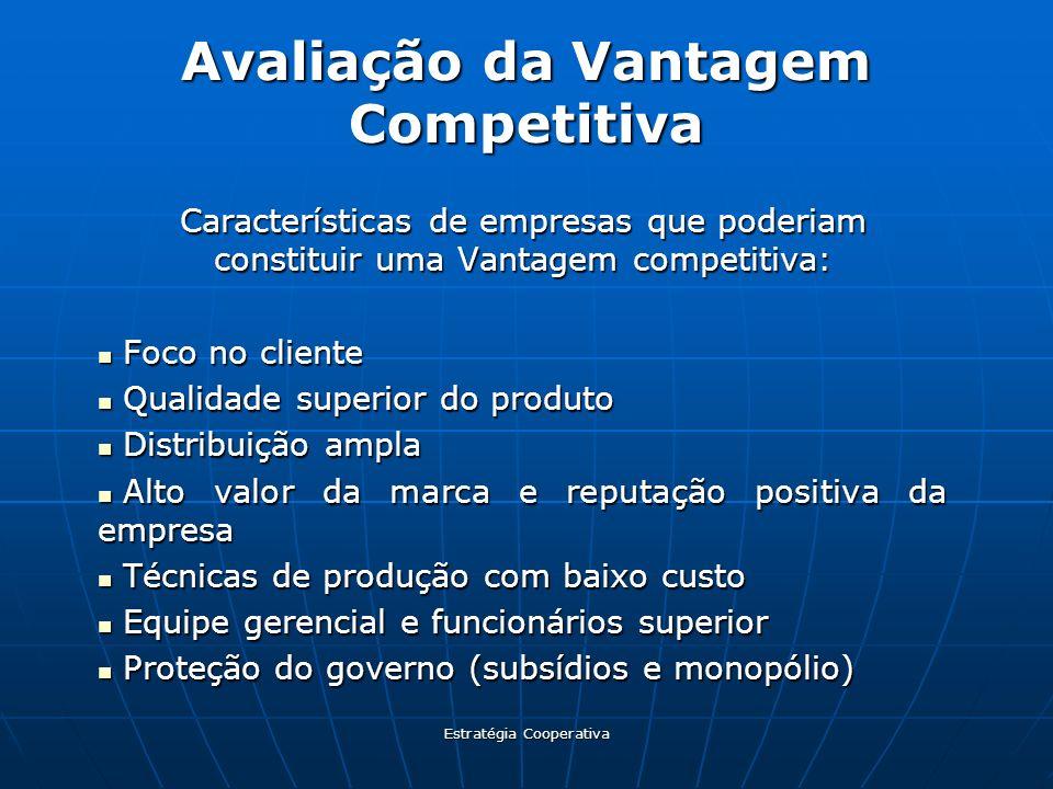 Estratégia Cooperativa Avaliação da Vantagem Competitiva Características de empresas que poderiam constituir uma Vantagem competitiva: Foco no cliente