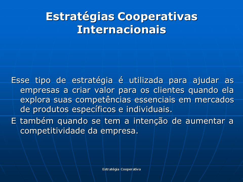 Estratégia Cooperativa Estratégias Cooperativas Internacionais Esse tipo de estratégia é utilizada para ajudar as empresas a criar valor para os clien