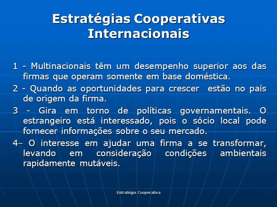 Estratégia Cooperativa Estratégias Cooperativas Internacionais 1 - Multinacionais têm um desempenho superior aos das firmas que operam somente em base