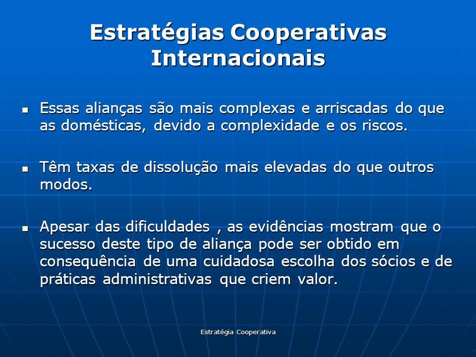 Estratégia Cooperativa Estratégias Cooperativas Internacionais Essas alianças são mais complexas e arriscadas do que as domésticas, devido a complexid