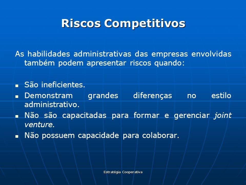 Estratégia Cooperativa Riscos Competitivos As habilidades administrativas das empresas envolvidas também podem apresentar riscos quando: São ineficien