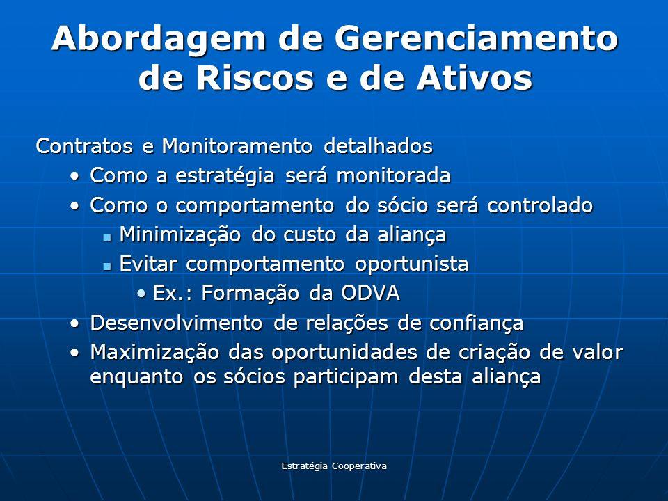 Estratégia Cooperativa Abordagem de Gerenciamento de Riscos e de Ativos Contratos e Monitoramento detalhados Como a estratégia será monitoradaComo a e