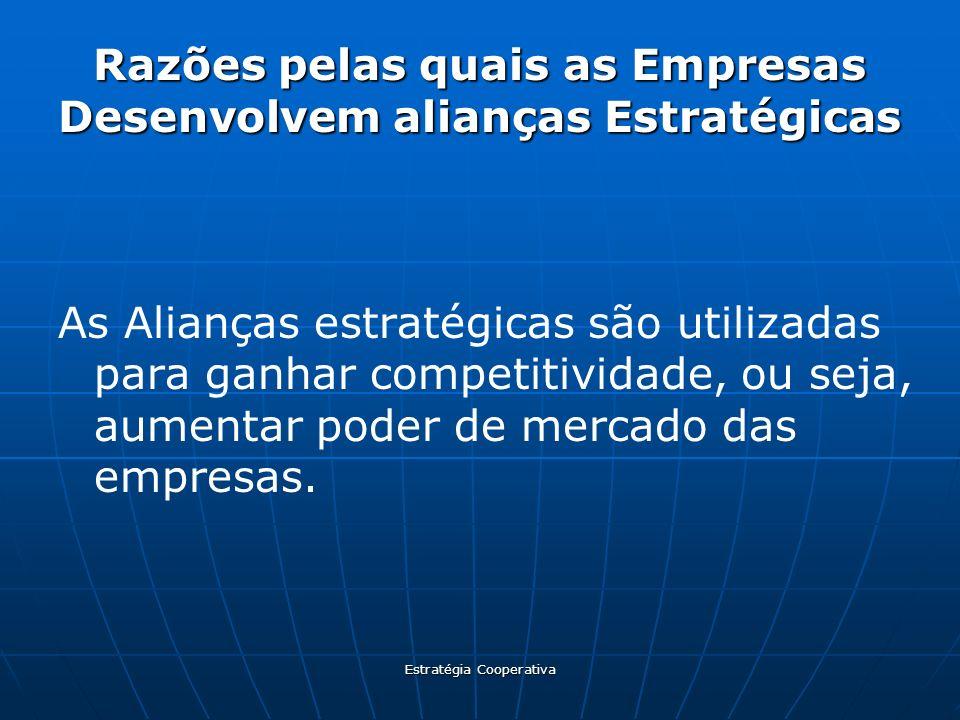 Estratégia Cooperativa Razões pelas quais as Empresas Desenvolvem alianças Estratégicas As Alianças estratégicas são utilizadas para ganhar competitiv