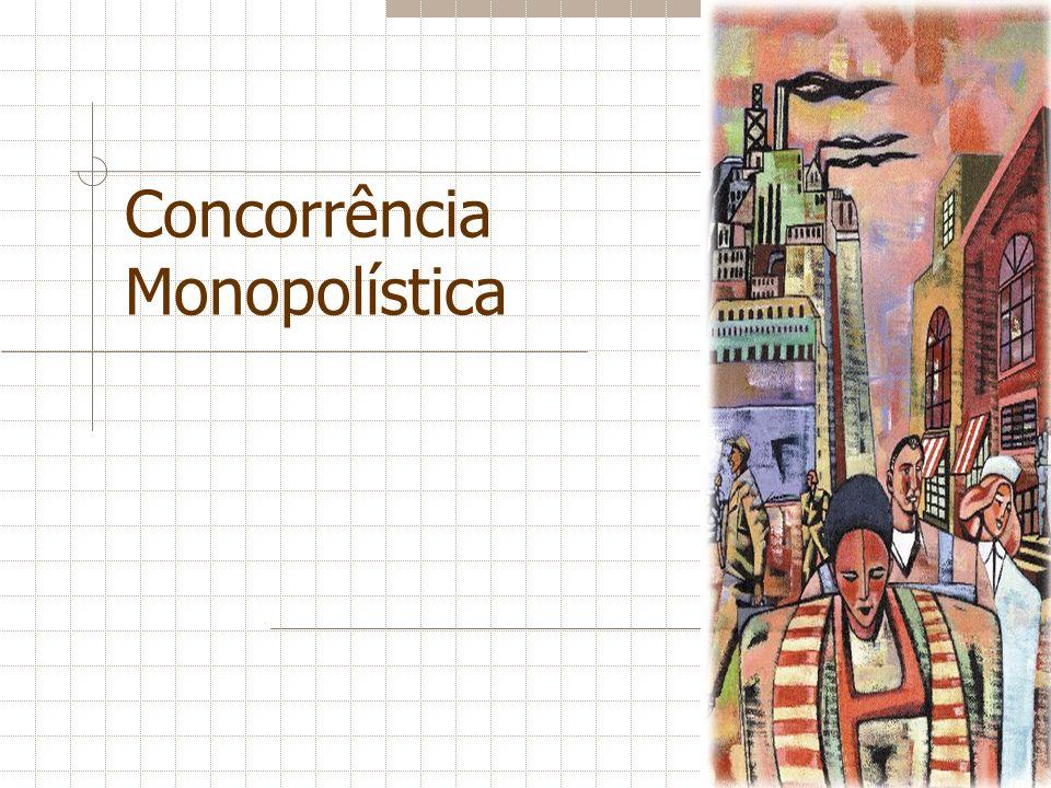 Competição Monopolísica e Competição Perfeita Existem duas diferenças importantes entre a concorrência perfeita e a concorrência monopolística: Capacidade ociosa e margem