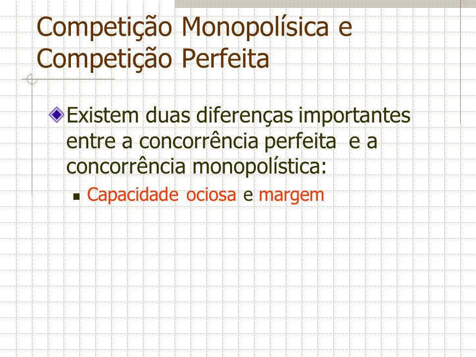 Competição Monopolísica e Competição Perfeita Existem duas diferenças importantes entre a concorrência perfeita e a concorrência monopolística: Capaci