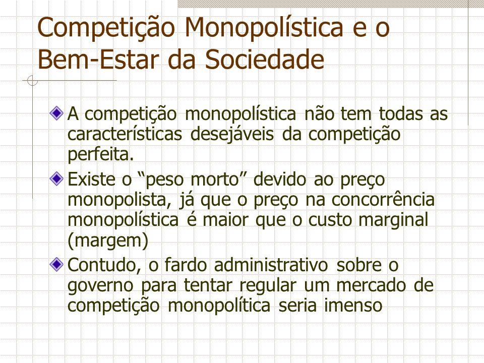 Competição Monopolística e o Bem-Estar da Sociedade A competição monopolística não tem todas as características desejáveis da competição perfeita. Exi
