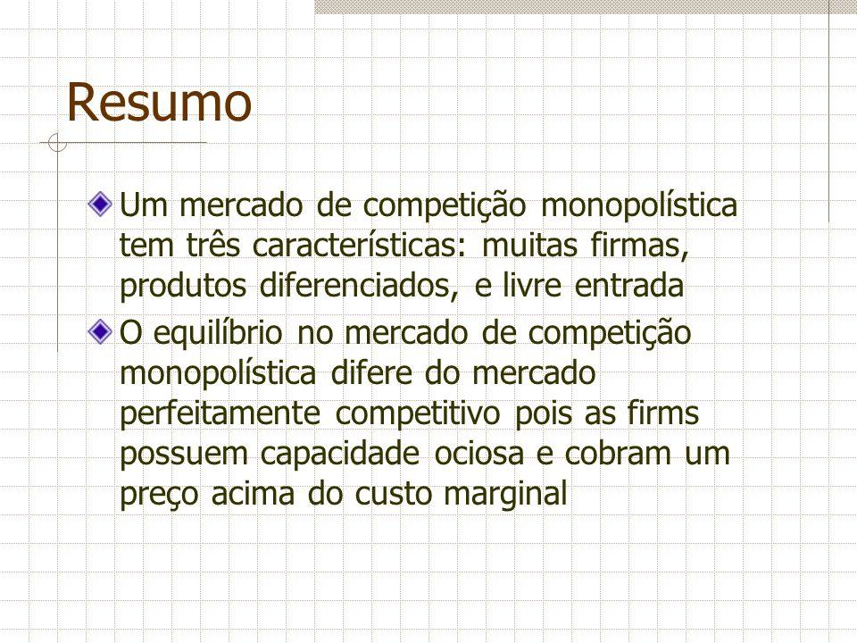 Resumo Um mercado de competição monopolística tem três características: muitas firmas, produtos diferenciados, e livre entrada O equilíbrio no mercado