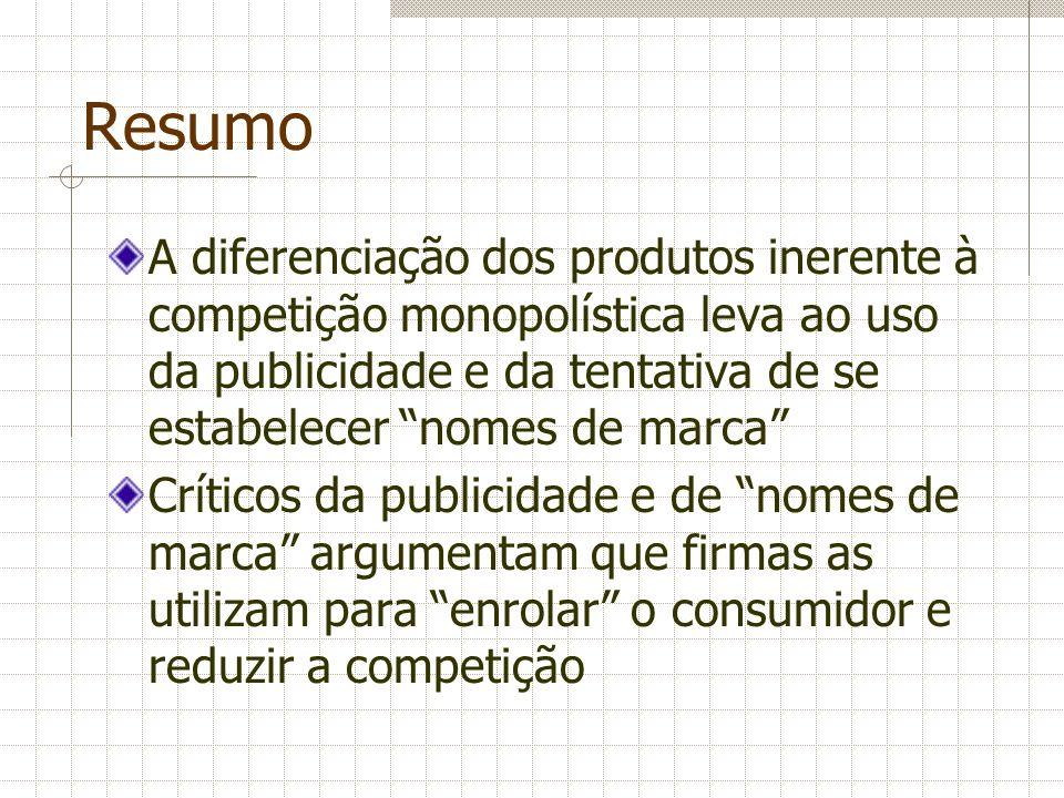 Resumo A diferenciação dos produtos inerente à competição monopolística leva ao uso da publicidade e da tentativa de se estabelecer nomes de marca Crí