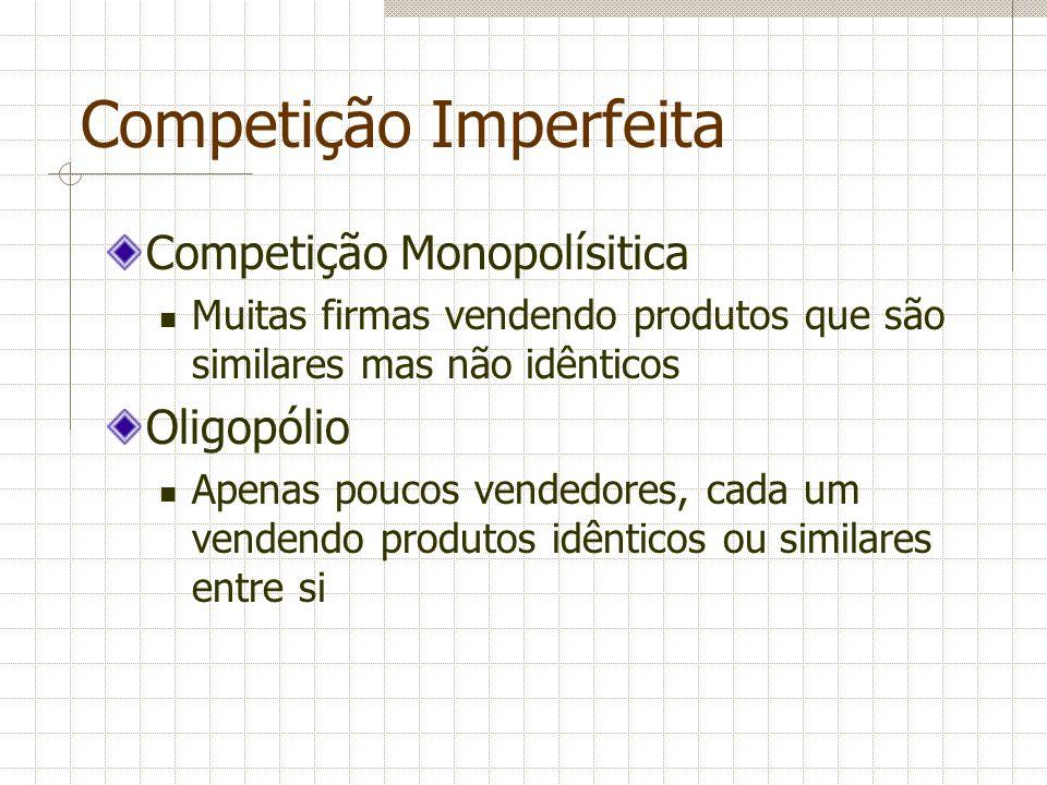 Competição Monopolísitica São mercados com alguns aspectos de competição e outros de monopólio Principais características: Muitos vendedores Produtos diferenciados Livre entrada e saída